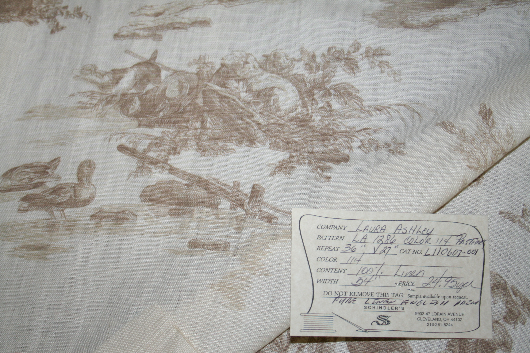 Laura Ashley Pastimes Willow Linen Color114 Toile