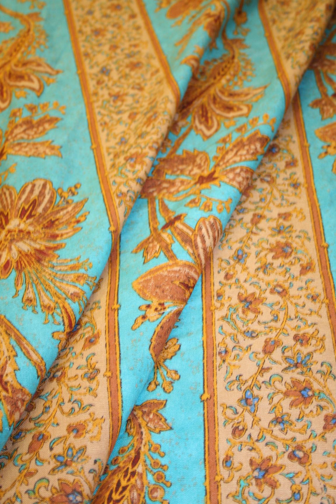 Ralph Lauren Design Renier Stripe Aqua Linen Cotton Blend