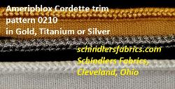 In Stock Ameriphlox Cordette trim pattern 0210 in colors Gold, Titanium or Silver (top to bottom in images)
