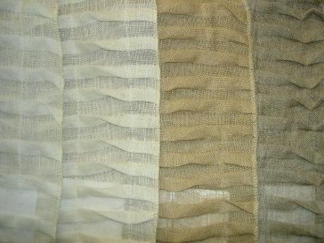 Colorways of Linen Origami Style Pleated Semisheer Drapery Fabric from India, (left to right) white, ivory, teastain, linen