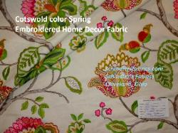 Cotswold is a high end premium floral embroidered designer linen rayon fabric