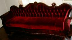 Couch reupholstered in traditional classic Mohair Upholstery Fabric