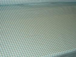 Angle view of Design Cheap Clearance Sale P Kaufmann Cambridge Check Color Turquoise Fabric for Home Decor