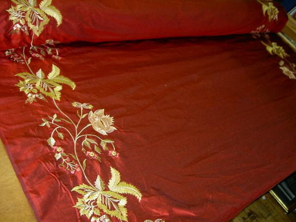 Discount Designer Silk Drapery Panel Home Decor Fabric With Embroidery Borders Color Ruby Click For