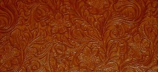 Swatch of Faux Tooled Etched Leather by the yard pattern Laredo Upholstery Vinyl Fabric Color Pottery