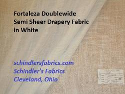 Fortaleza Doublewide Semi Sheer Drapery Fabric in white with an open weave burlap look