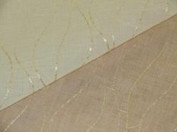 Gold Chainette on Sheer Ivory Fabric polyester drapery fabric for window treatments