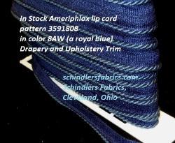 In Stock Ameriphlox lip cord pattern 3591808 Drapery and Upholstery Trim cording, in color 8AW (a royal blue)