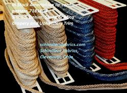 In Stock Ameriphlox lip cord pattern 7181808, Drapery and Upholstery Trim, in colors 4036 Sienna, 4034 Denim, 4032 Stone or 4005 Mica