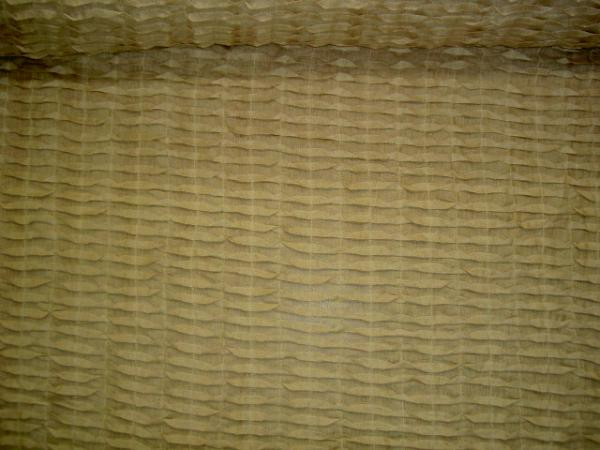 Linen Origami Style Pleated Semisheer Drapery Fabric Color Teastain from India by the yard