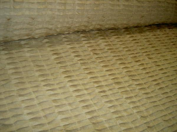 angle view Linen Origami Style Pleated Semisheer Drapery Fabric Color Teastain from India by the yard