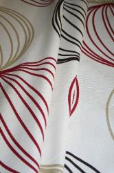 Left Draped Prestigious Textiles Pattern Orbital Color Ruby Interior Decorating Fabric