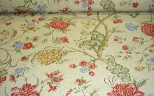 Scalamandre Pattern Palampore Color Celery Linen Fabric Remnant by the yard