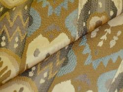 Stone, Slate and Sand Ikat Stripe woven design in heavyweight cotton poly blend